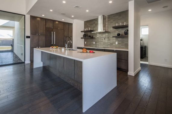 Waterfall Countertop over Custom Cabinets 2019