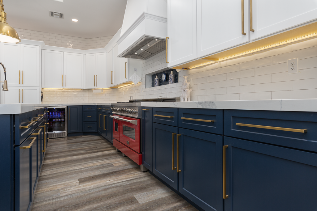Red white and blue custom cabinet design